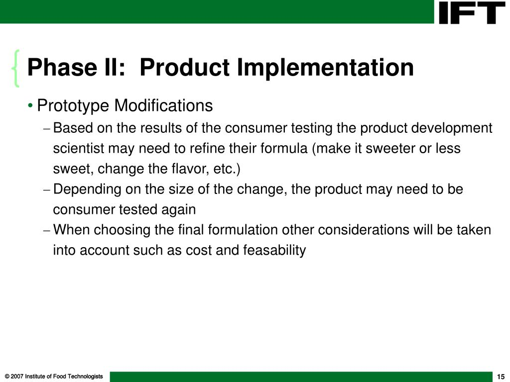 Phase II:  Product Implementation