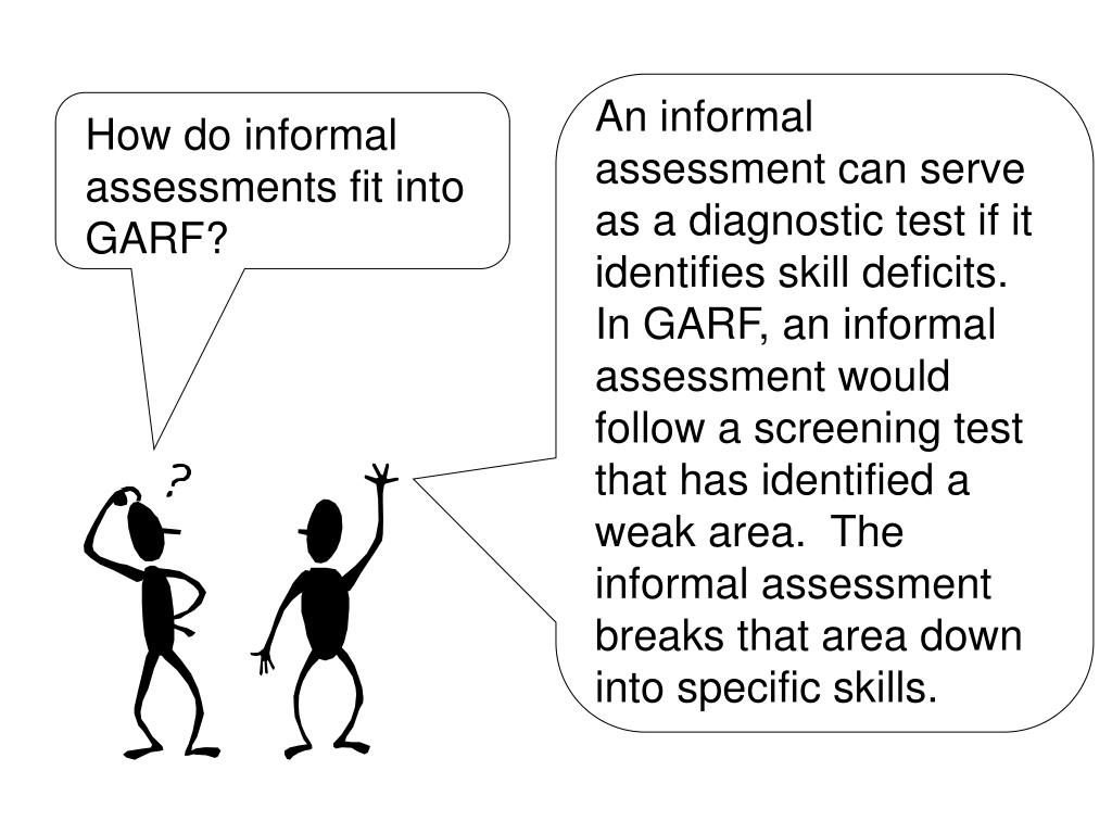 An informal assessment can serve as a diagnostic test if it identifies skill deficits.  In GARF, an informal assessment would follow a screening test that has identified a weak area.  The informal assessment breaks that area down into specific skills.