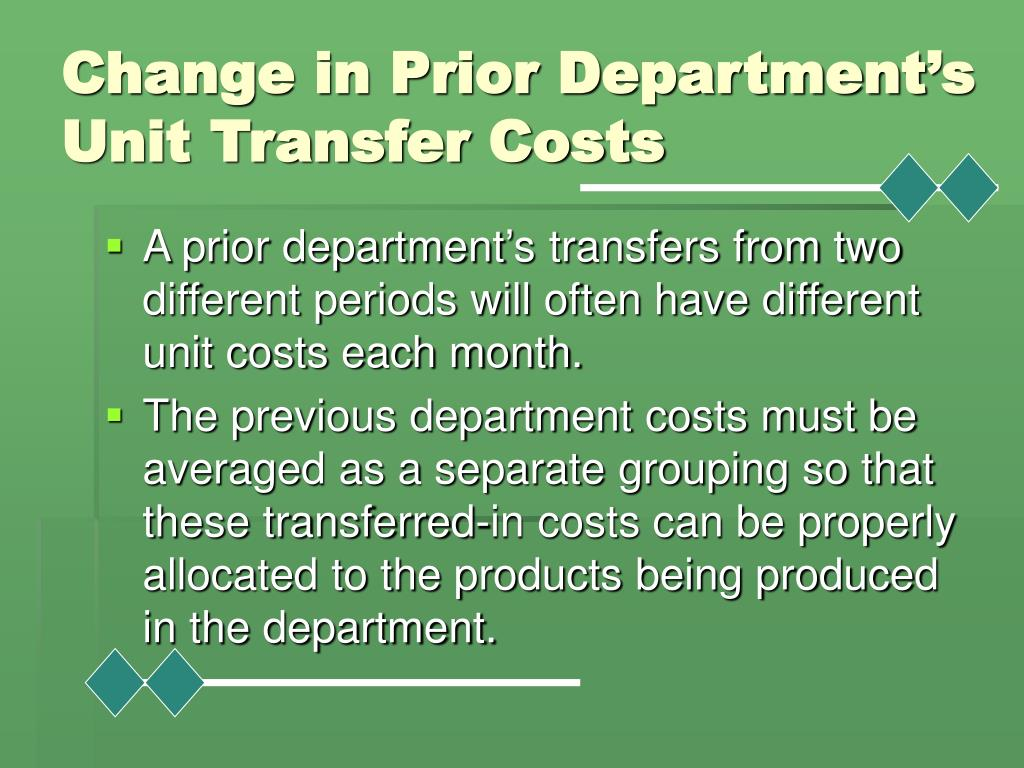 Change in Prior Department's Unit Transfer Costs