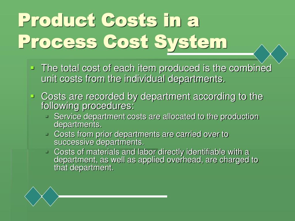 Costs are recorded by department according to the following procedures: