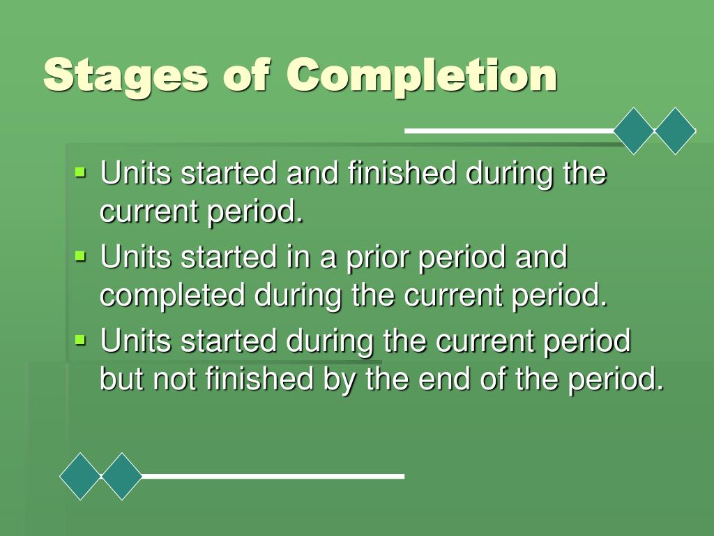 Stages of Completion