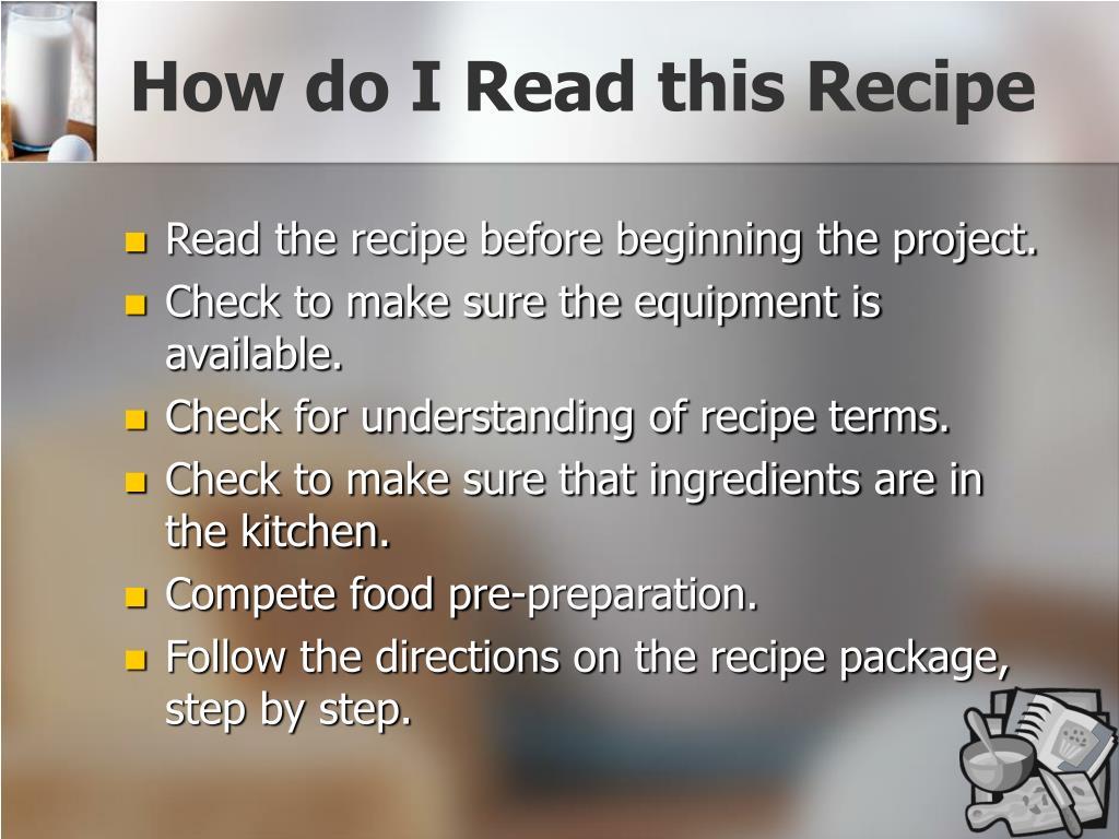 How do I Read this Recipe