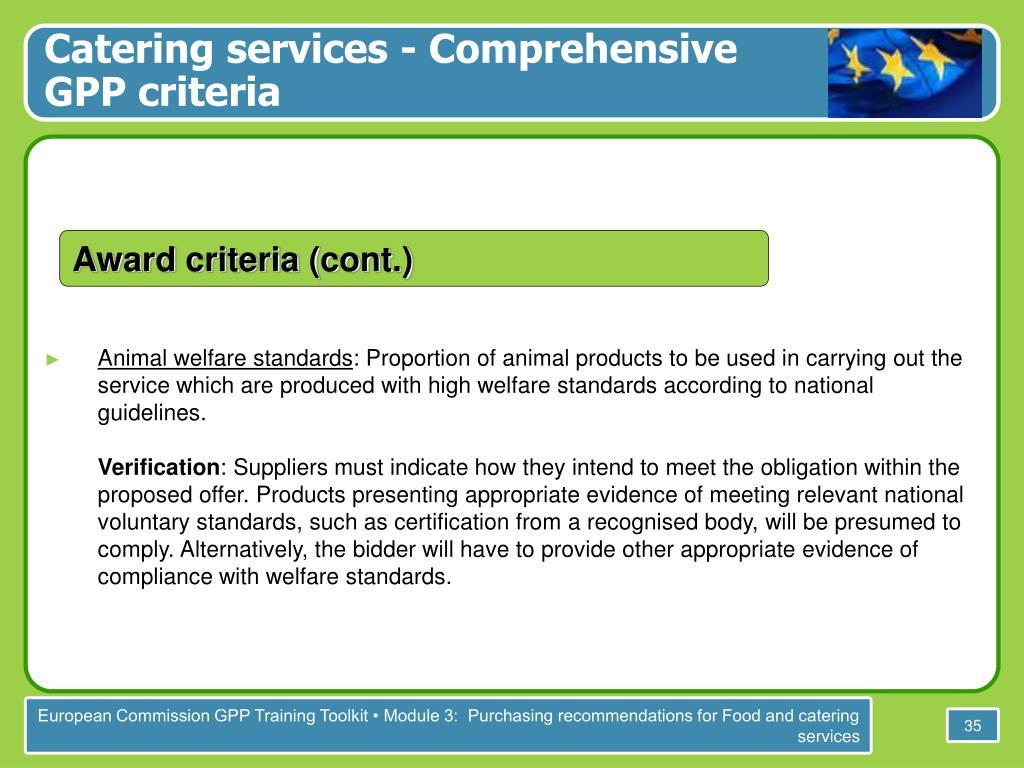 Catering services - Comprehensive GPP criteria