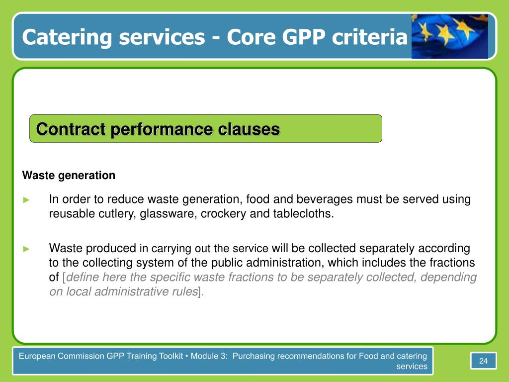 Catering services - Core GPP criteria