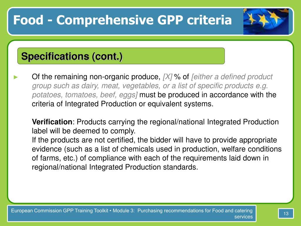 Food - Comprehensive GPP criteria