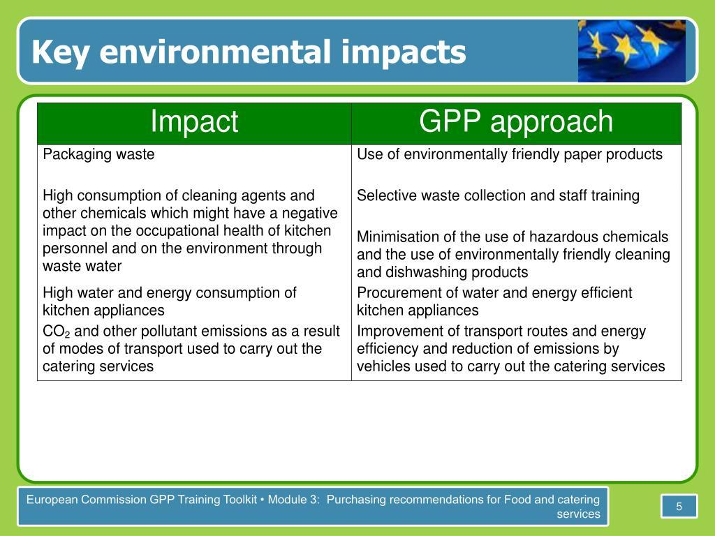 Key environmental impacts