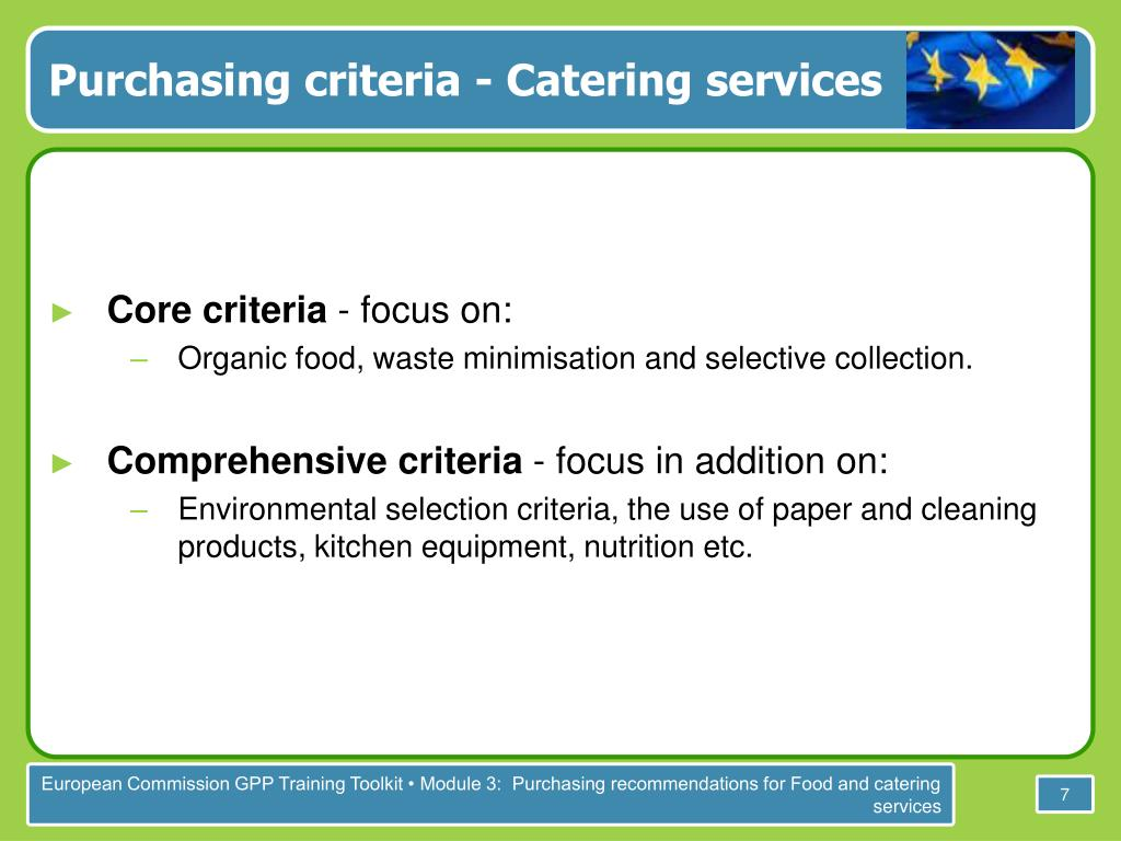 Purchasing criteria - Catering services
