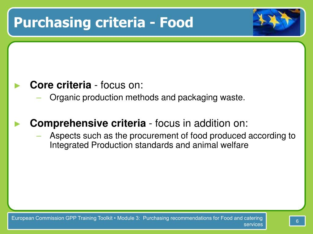 Purchasing criteria - Food