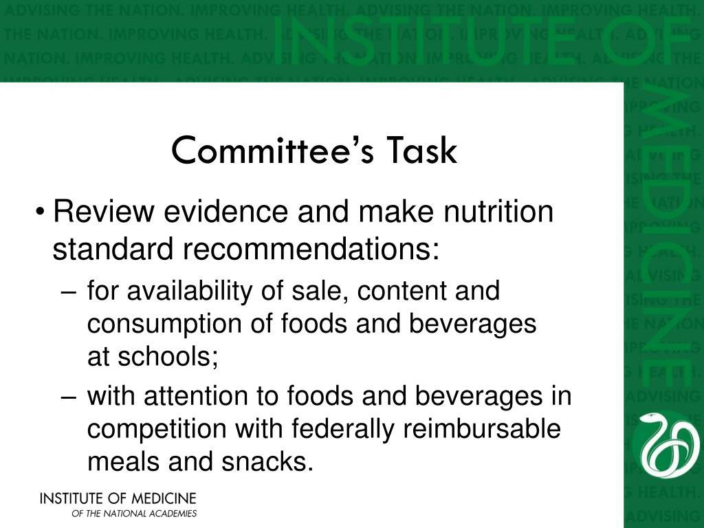 Committee's Task