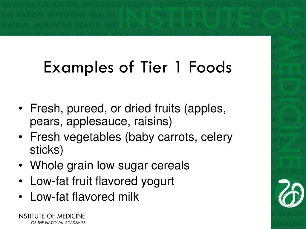 Examples of Tier 1 Foods