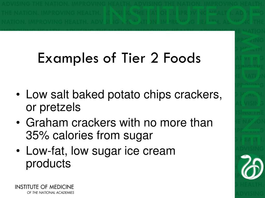 Examples of Tier 2 Foods