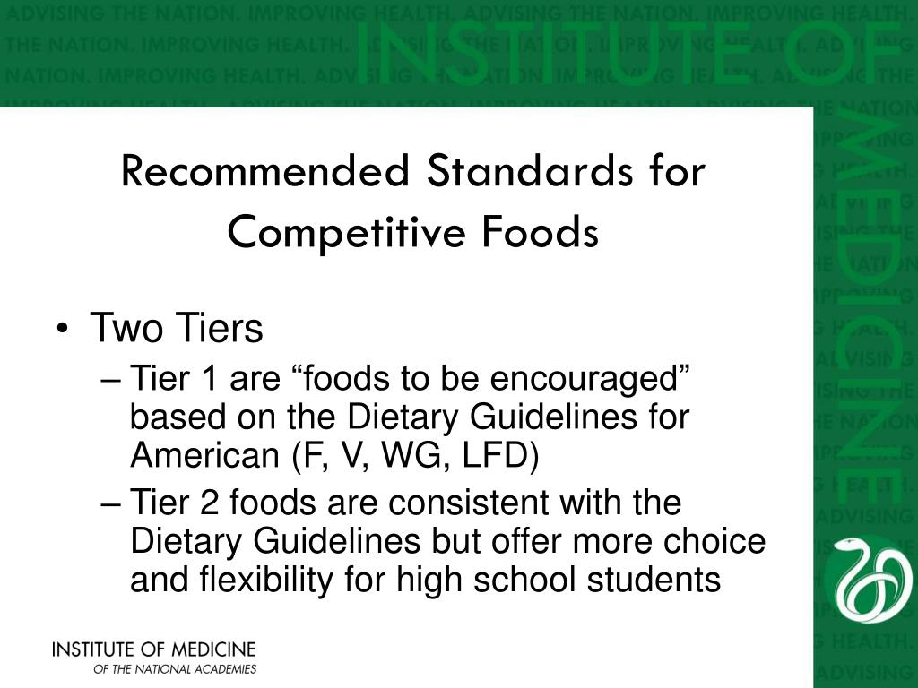 Recommended Standards for Competitive Foods