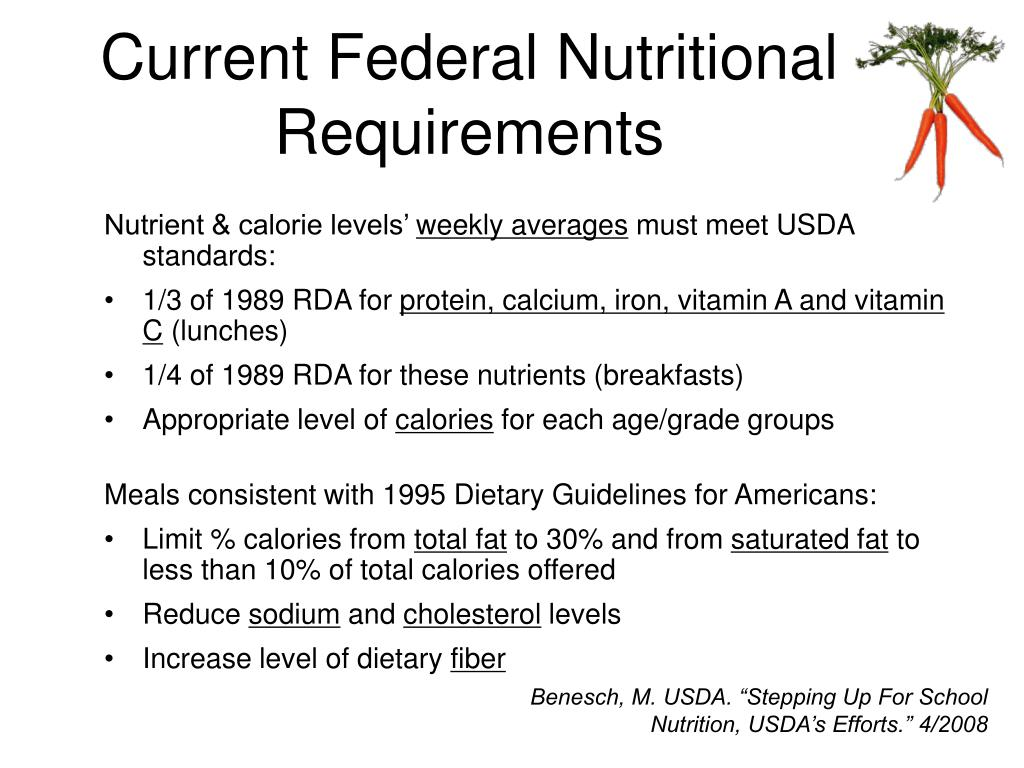 Current Federal Nutritional Requirements