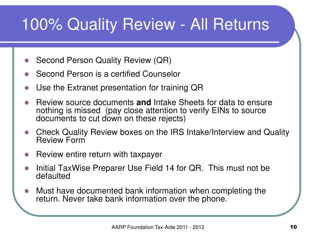 100% Quality Review - All Returns