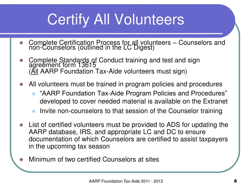 Certify All Volunteers