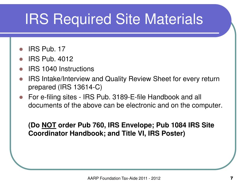 IRS Required Site Materials
