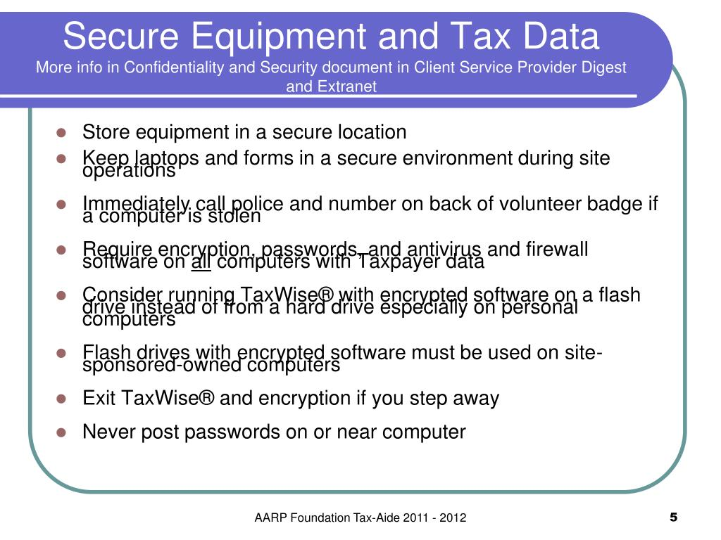 Secure Equipment and Tax Data