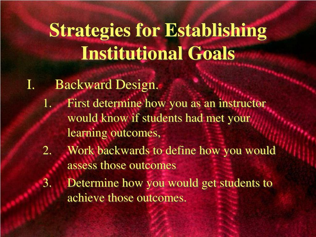 Strategies for Establishing Institutional Goals