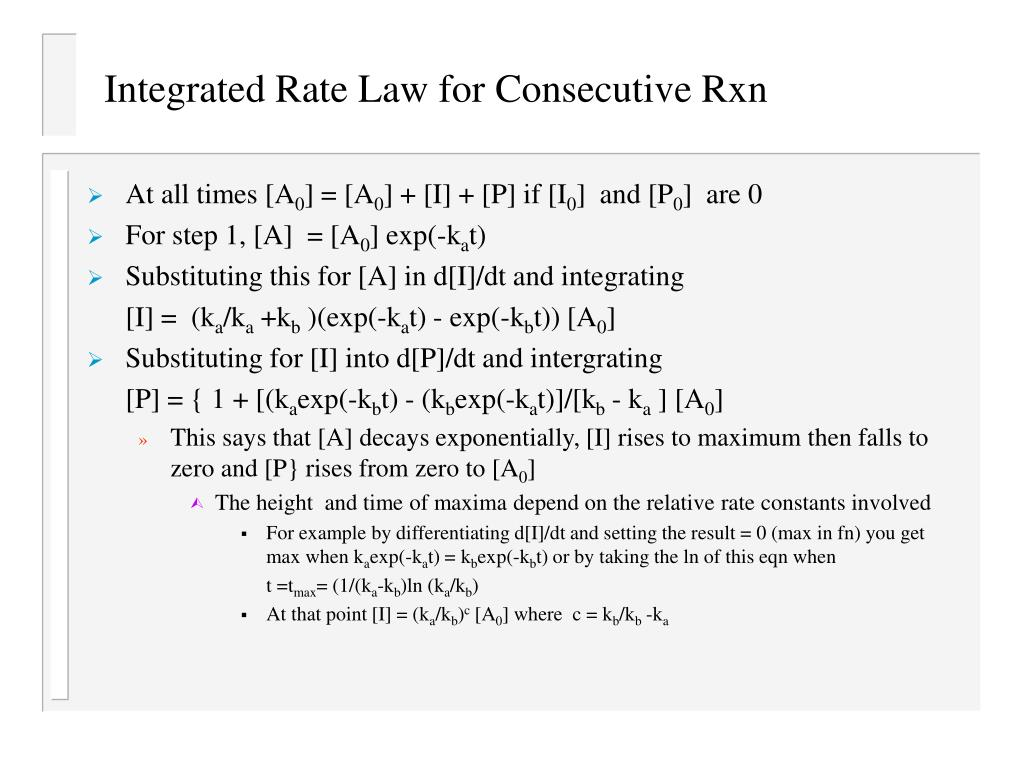 Integrated Rate Law for Consecutive Rxn