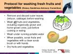 protocol for washing fresh fruits and vegetables dietary guidelines advisory committee
