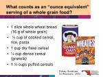 what counts as an ounce equivalent serving of a whole grain food