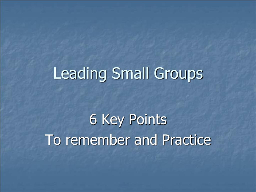 Leading Small Groups