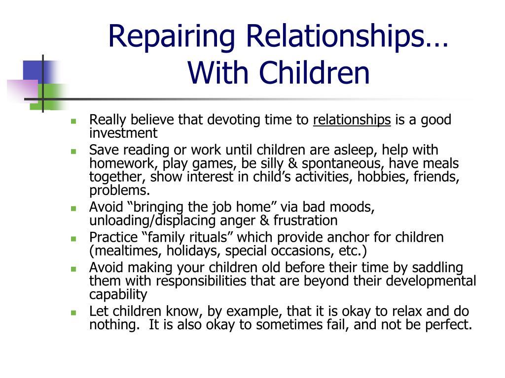 Repairing Relationships…