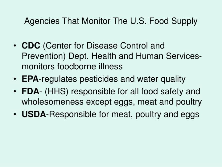 Agencies that monitor the u s food supply