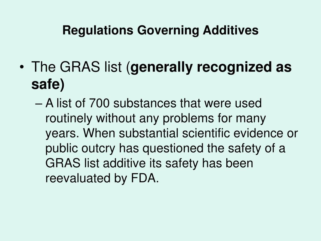 Regulations Governing Additives