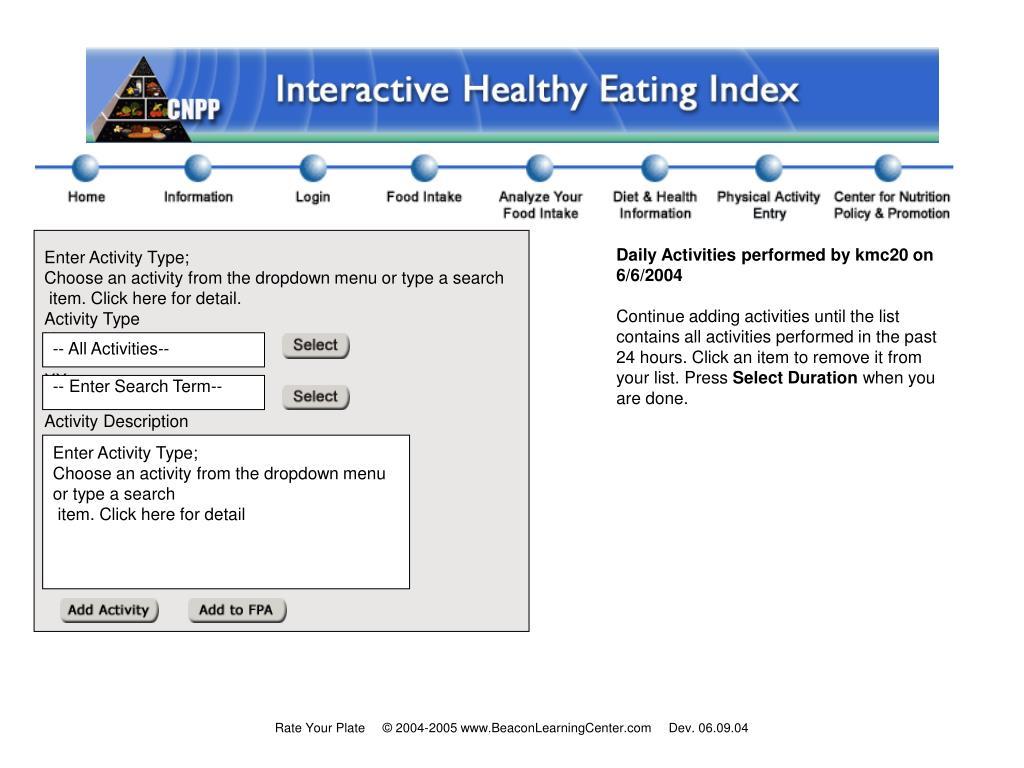 Enter Activity Type;