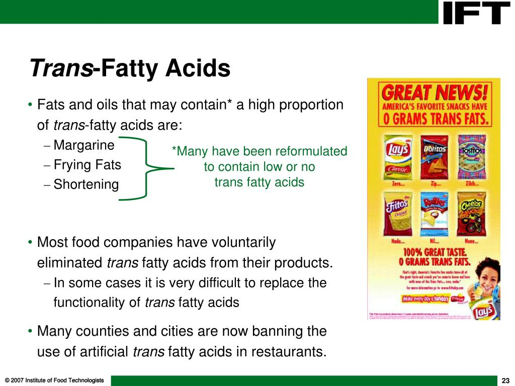 Fats and oils that may contain* a high proportion of