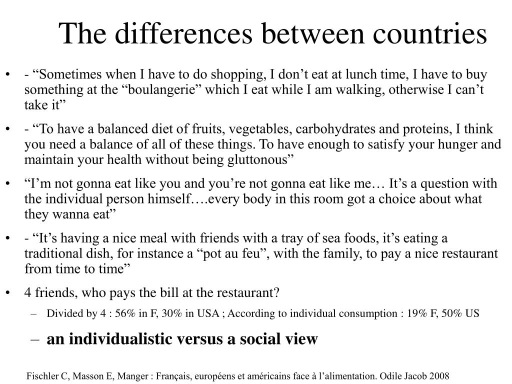 The differences between countries
