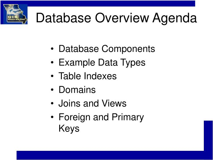 Database overview agenda