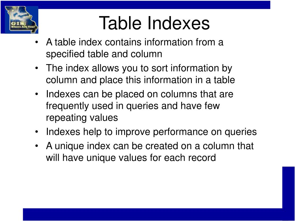 Table Indexes