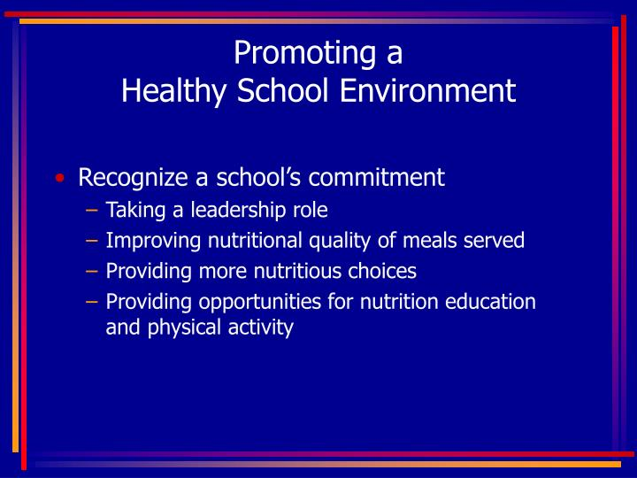 Promoting a healthy school environment