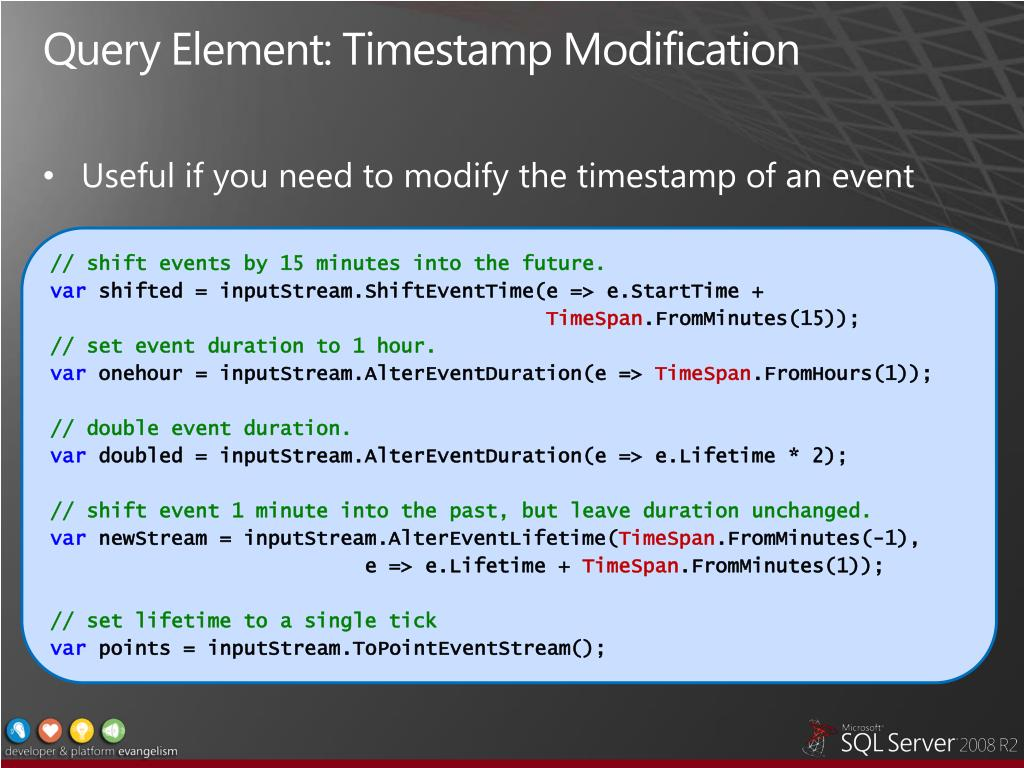 Query Element: Timestamp Modification
