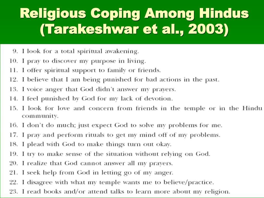 Religious Coping Among Hindus (Tarakeshwar et al., 2003)