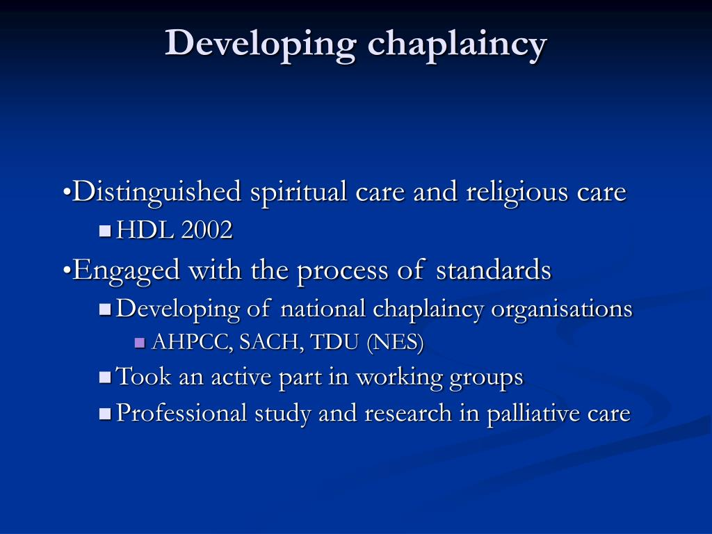 Developing chaplaincy