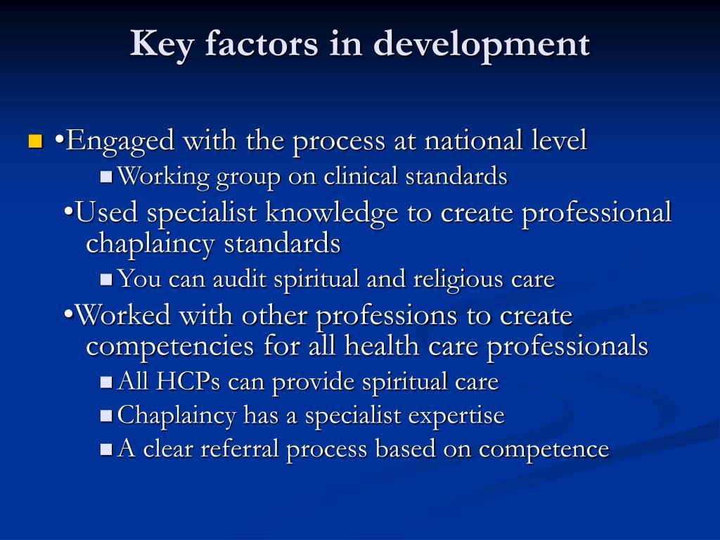 Key factors in development