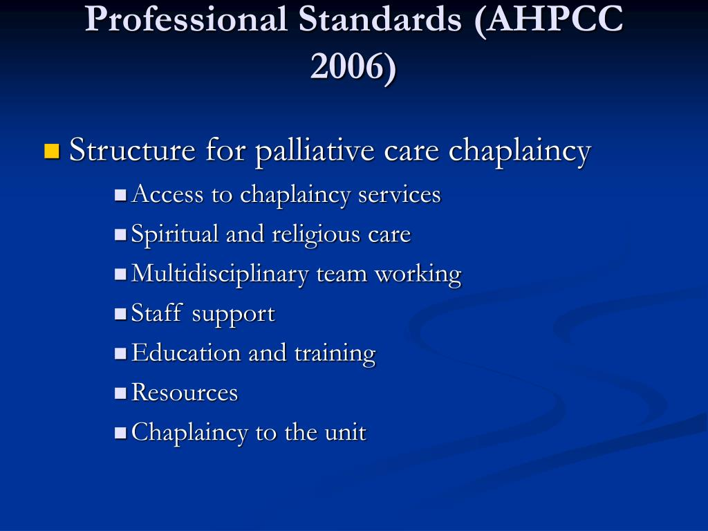 Professional Standards (AHPCC 2006)