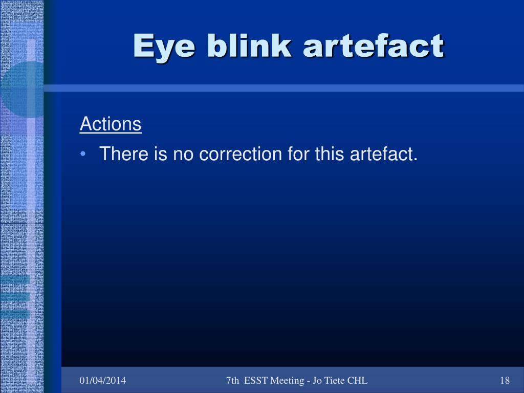 Eye blink artefact
