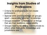 insights from studies of professions