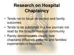 research on hospital chaplaincy