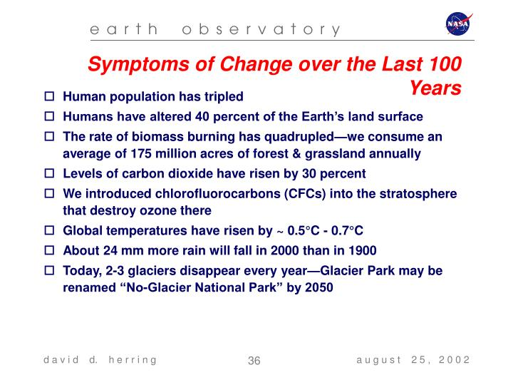 Symptoms of Change over the Last 100 Years