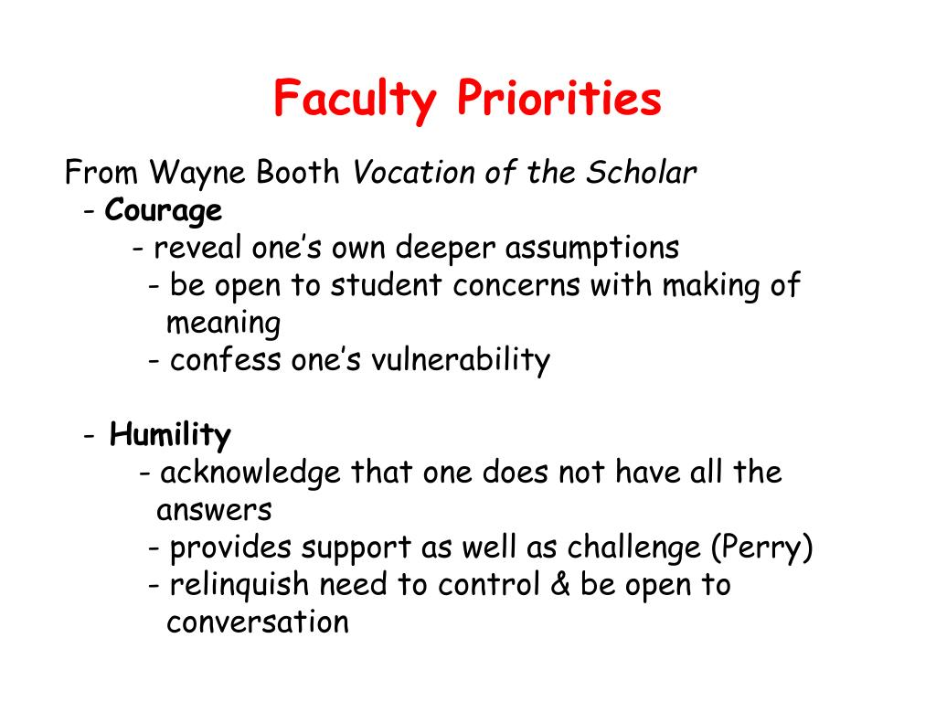 Faculty Priorities
