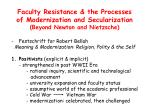 faculty resistance the processes of modernization and secularization beyond newton and nietzsche