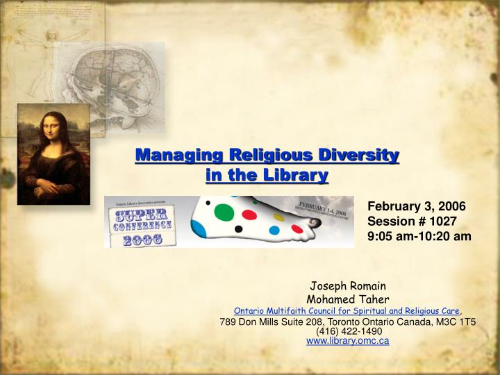 Managing religious diversity in the library l.jpg