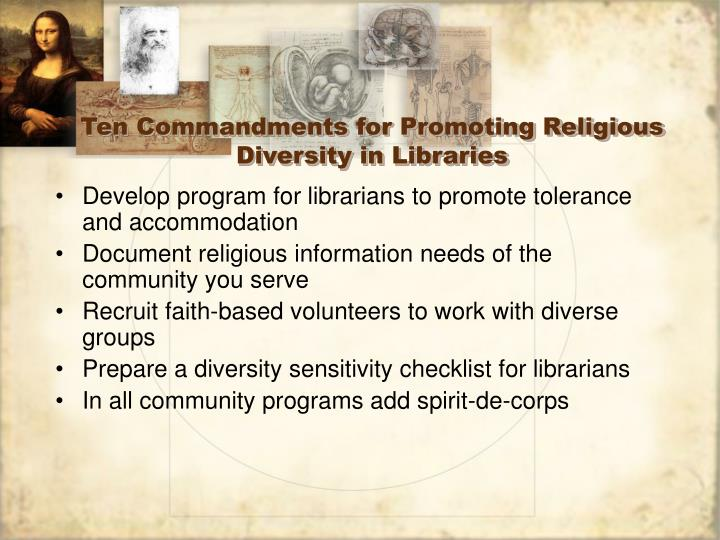 Ten commandments for promoting religious diversity in libraries l.jpg