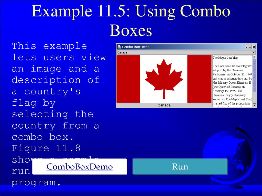 Example 11.5: Using Combo Boxes