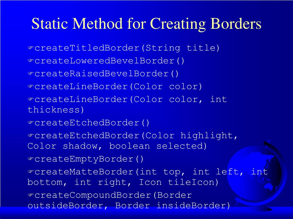 Static Method for Creating Borders